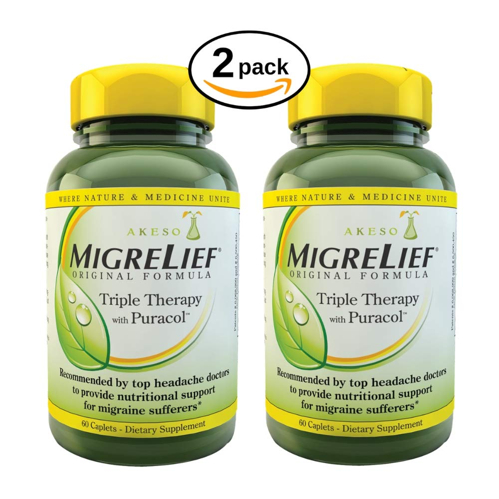 MigreLief® Original Formula, Triple Therapy with PuracolTM Feverfew, 60 Count (Pack of 2) by MigreLief