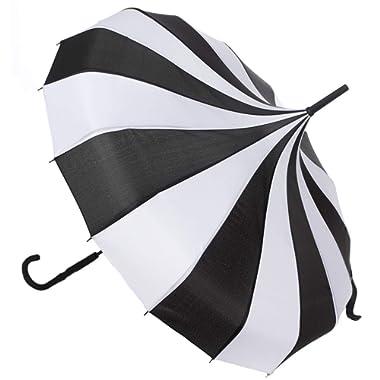 Sourpuss Pagoda Umbrella Black/White