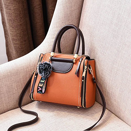 GUANGMING77 Single Schultertasche Handtasche_Winter Farbe Haare Ball Schulter yellow