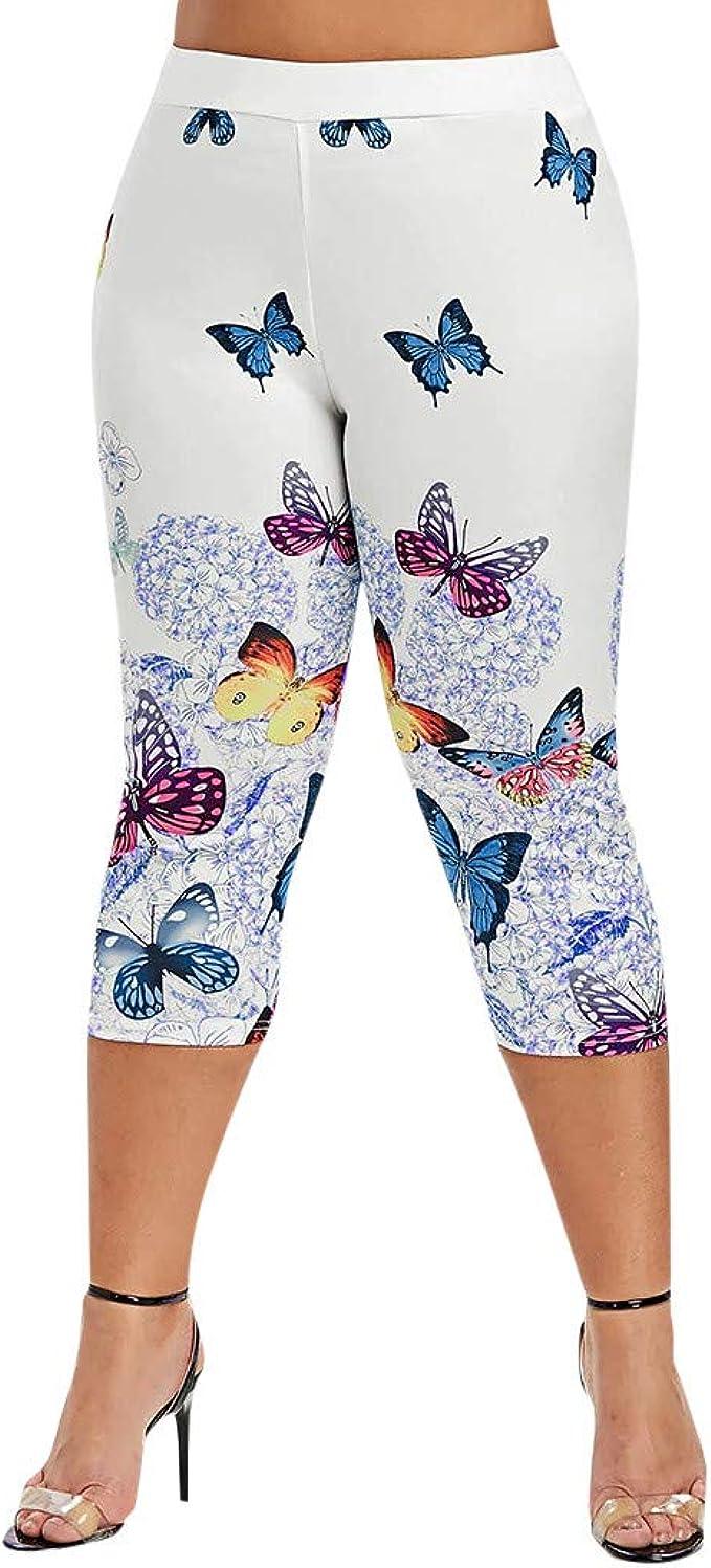 cinnamou Pantalones Mujer, Pantalones Cortos Estampado De Mariposa ...