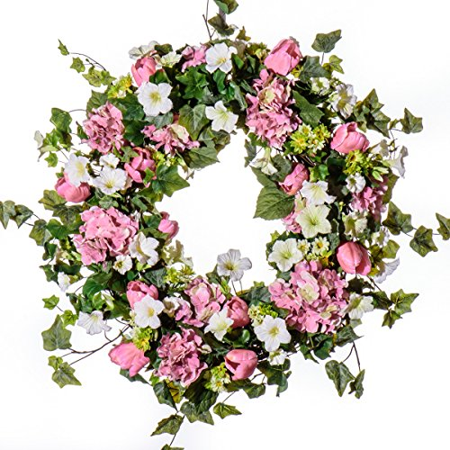 Price comparison product image PINK HYDRANGEA AND TULIP WREATH (SW924) (30 inch)