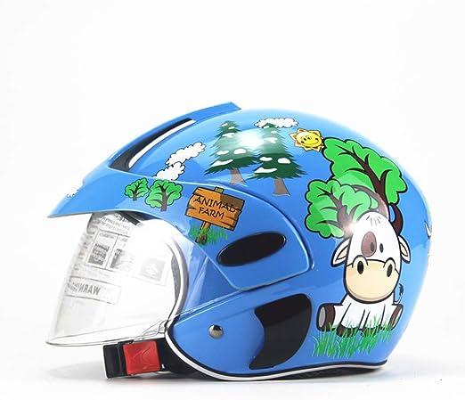 CARACHOME Casco niño,Casco Moto niño Cara Abierta/Cara Llena, Adecuado para Motocicleta Bicicleta Scooter patineta esquí,Blue: Amazon.es: Hogar