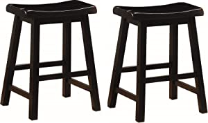 Coaster CO- 24-inch Wooden Counter Stools Black (Set of 2)