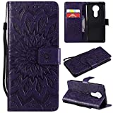 Moto E5 Plus Case, Moto E5+ Case, Moto E5 Supra Case, Love Sound [Wrist Strap] [Stand Function] Premium Emboss Sunflower PU Leather Wallet Flip Protective Cover for Motorola Moto E5 Plus – Purple Review
