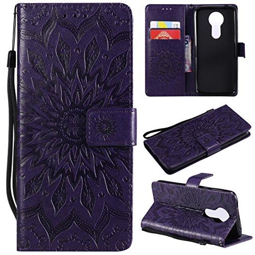 Moto E5 Plus Case, Moto E5+ Case, Moto E5 Supra Case, Love Sound [Wrist Strap] [Stand Function] Premium Emboss Sunflower PU Leather Wallet Flip Protective Cover for Motorola Moto E5 Plus - Purple