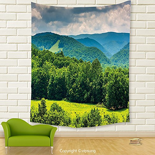 Vipsung House Decor Tapestry_Landscape View Of Mountains In Potomac Highlands Of West Virginia Rural Scenery Picture Forest Green_Wall Hanging For Bedroom Living Room (Virginia Highlands Halloween)
