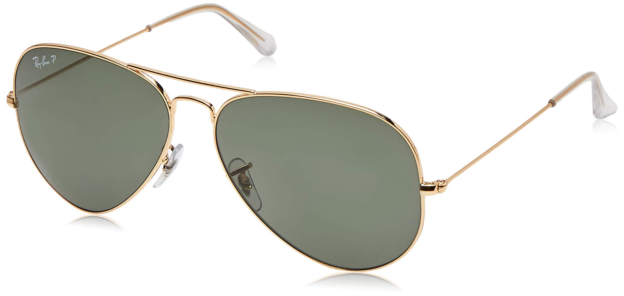 RAY-BAN RB3025 Aviator Large Metal Polarized Sunglasses, Gold/Polarized Green, 62 mm by Ray-Ban