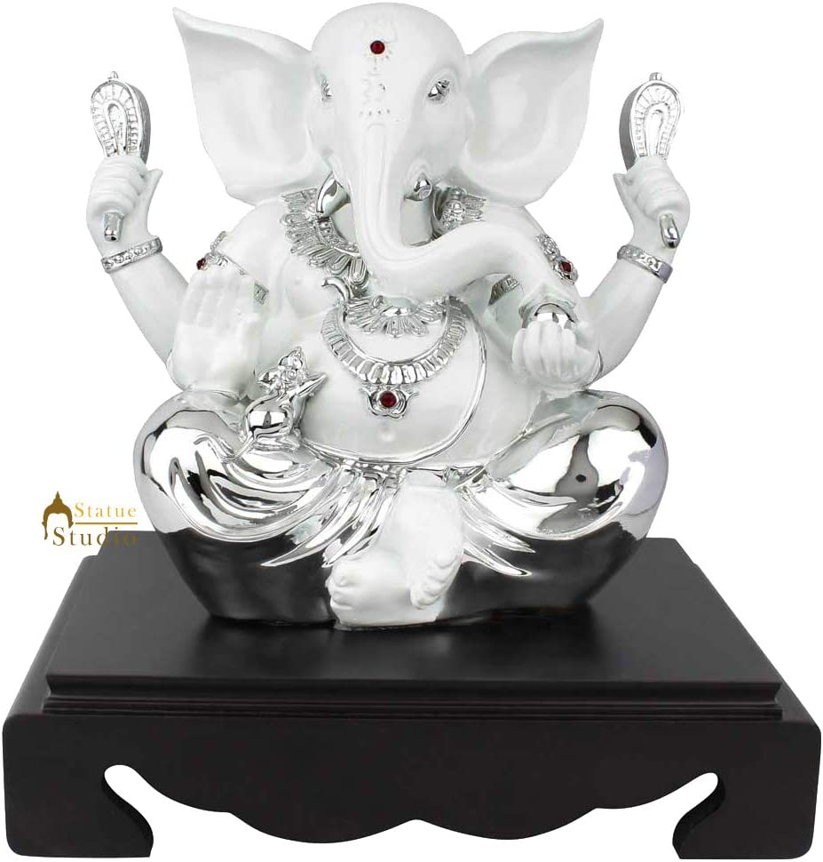 Statuestudio Polyresin Ganesha Idol for Home Decor Diwali Showpiece Office Corporate Gift, White Silver (10 × 7 × 11 Inches)