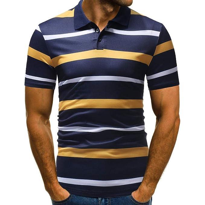 Bestow Manga Corta Patchwork Camiseta Casual Botones para Hombre Diseño Cardigans Medio Blusa para Hombre: Amazon.es: Ropa y accesorios