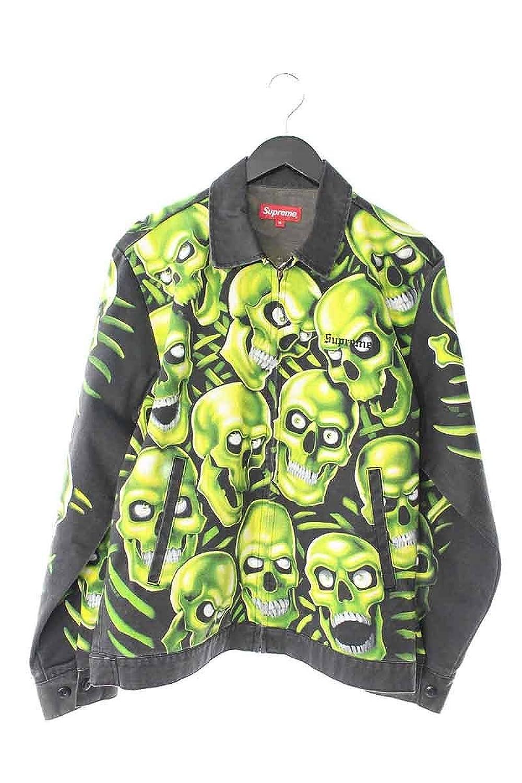 (シュプリーム) SUPREME 【18SS】【Skull Work Jacket】スカル総柄デニムジャケット(M/グリーン×ブラック) 中古 B07DHJ9ZB7