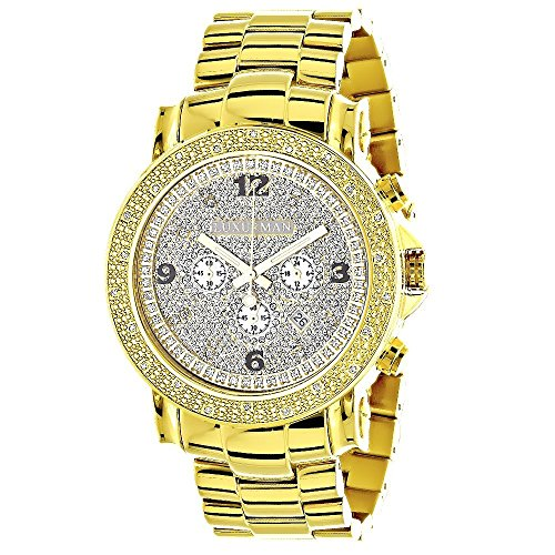 18k Diamond Wrist Watch - Iced out LUXURMAN Escalade Watches: Very Large 18K Yellow Gold Plated Real Diamond Watch for Men 0.25ct
