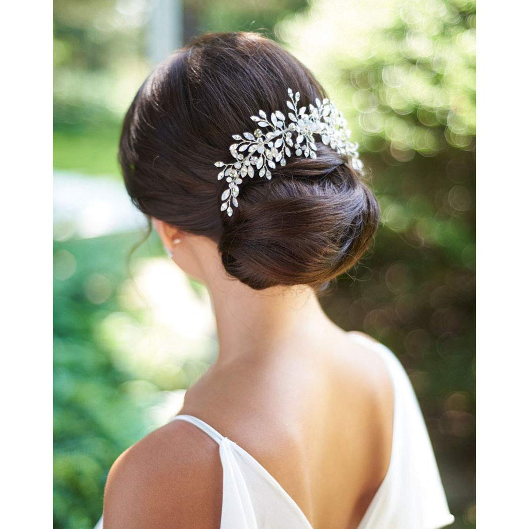 Catery Bride Wedding Hair Comb Hair Accessories with Crystal Bridal Side Combs Headpiece for Women by Catery