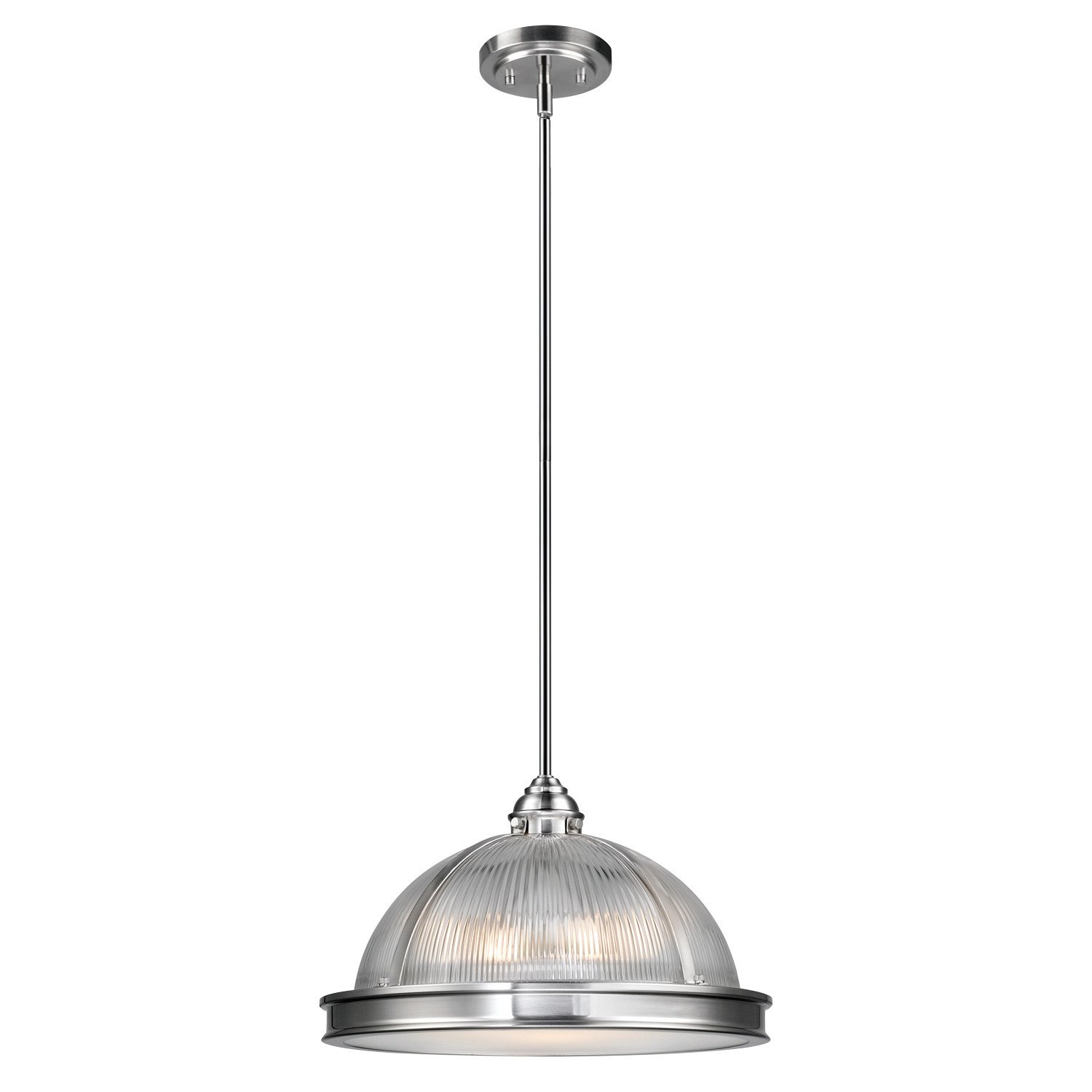 Novogratz Tarley 3-Light Hanging Pendant, Brushed Steel Finish, Clear Ribbed Glass Shade with Frosted Diffuser 65497
