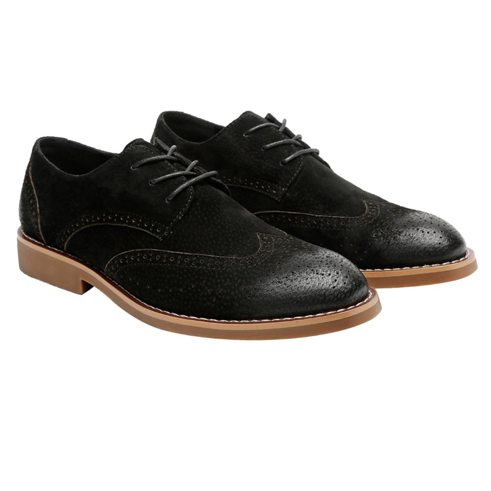 Hilotu Clearance Party Shoes Men's Classic Business Shoes Matte Breathable Hollow Carving Genuine Leather Lace Up Lined Oxfords (Suede Optional) (Color : Suede BLK, Size : 8 D(M) US) by Hilotu-shoes (Image #2)