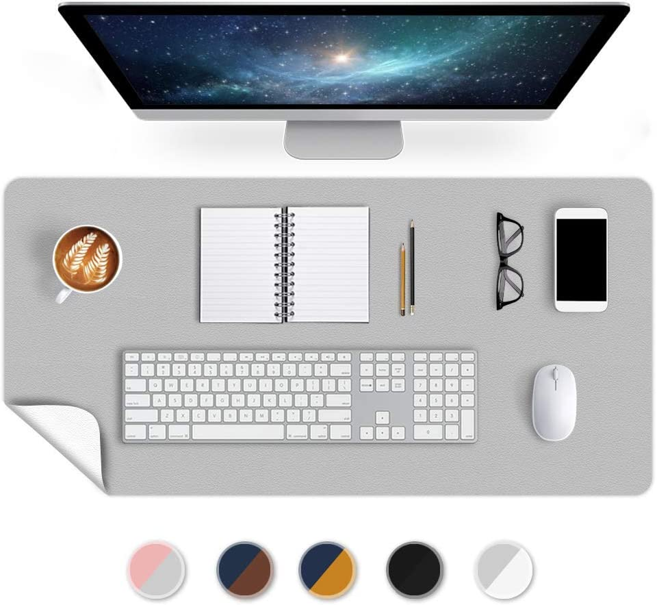 Office Desk Mats Pad Table Protector 16 X 32 Inch PU Leather Desk Blotters on Top of Desks Computer Laptop Keyboard Mouse Pad Organizer Double Side Desktop Cover Writing Mat for Girl Kids Gray/White
