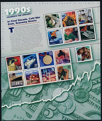 1990s: In Final Decade, Cold War Ends, Economy Booms (Celebrate the Century #10), Full Sheet of 15 x 33-Cent Postage Stamps, USA 2000, Scott - Usps Economy