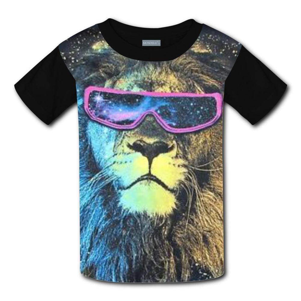 Shirt Kids 3D Printed Lion Head Cool 3D Printing Round Collar Short Sleeve Kids T