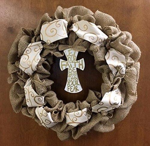 Amazon Com Easter Spring Religious Door Burlap Wreath With Cross