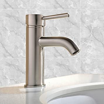 Good Comllen Modern Brass Single Handle Stainless Steel Single Hole Bathroom  Faucet, Lavatory Sink Faucet Brushed