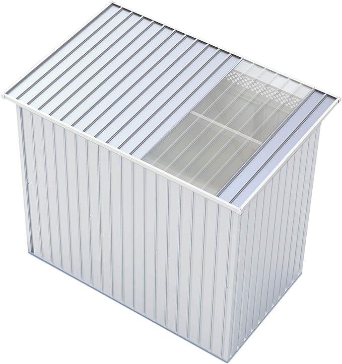 GARDIUN KIS12134 - Caseta Metálica Kingston 3 m² Exterior 142x213x184 cm Acero Galvanizado Silver/Blanco: Amazon.es: Jardín