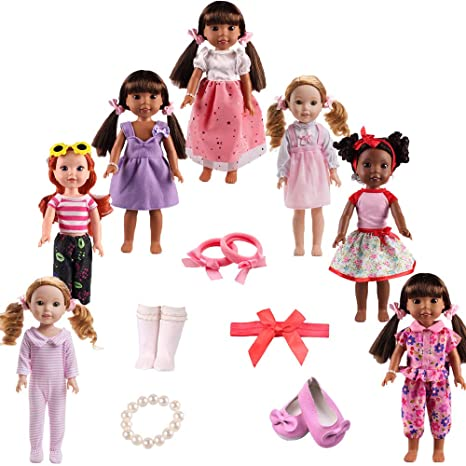 Image Unavailable. Image not available for. Color  TSQSZ 7Sets Doll Clothes  Shoes and Accessories for fit American Dolls 14inch14.5 inch Wellie 588d22884bc1