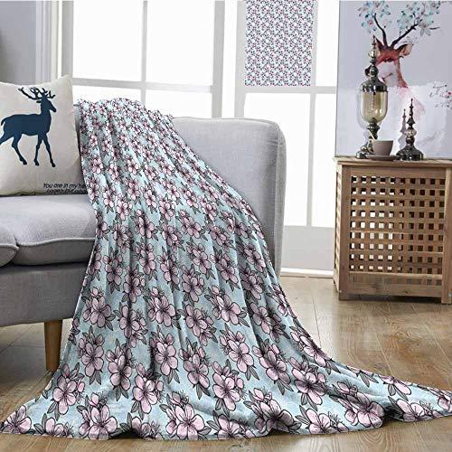 SONGDAYONE Blanket Cherry Blossom Anti-Pilling Blanket Fresh Floral Garden Theme Springtime Oriental Nature Ornaments Pale Blue Pink Grey W51 xL60