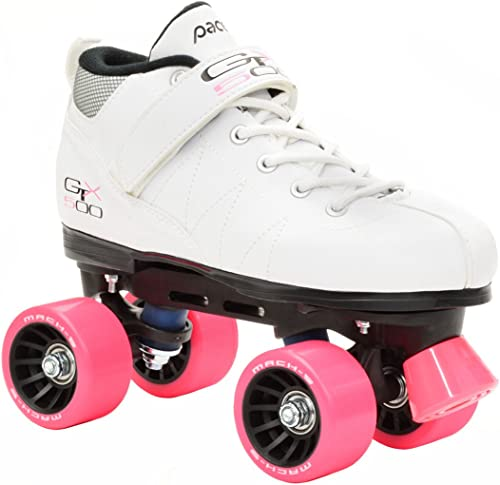 Pacer White Mach-5 GTX500 Quad Speed Roller Skates w 2 Pair of Laces Rainbow White