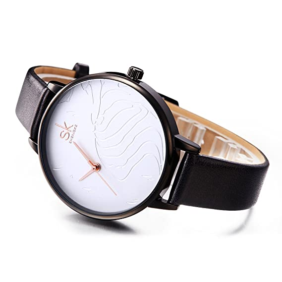 Amazon.com: SK Women Watches Leather Band Luxury Quartz Watches Girls Ladies Wristwatch (TT WE Black): Watches