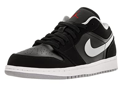 big sale c1ee3 101e1 Nike Mens Air Jordan 1 Low Black/Gym Red-Wolf Grey Suede Size 12