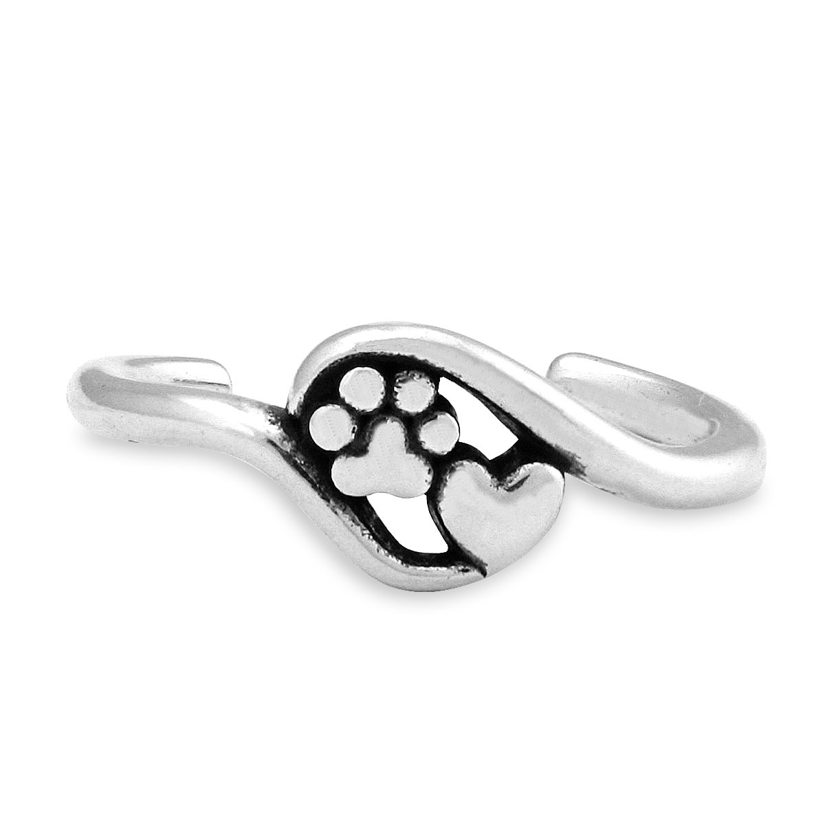 Sterling Silver Heart and Dog Paw Print Wrap Toe Ring