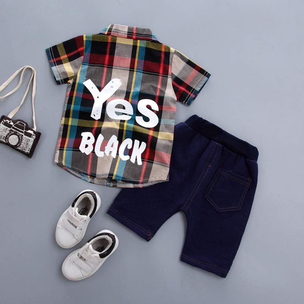 Baby Clothing Sets Waynine Waymine Toddler Boy Gentleman Short Sleeve Plaid Shirt+Denim Shorts Set 5 Colors