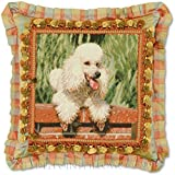 Limited-Edition, Custom-Made, Handmade Decorative Westminster Silk French Poodle Needlepoint Dog Designer Pillow. 20'' x 20''.