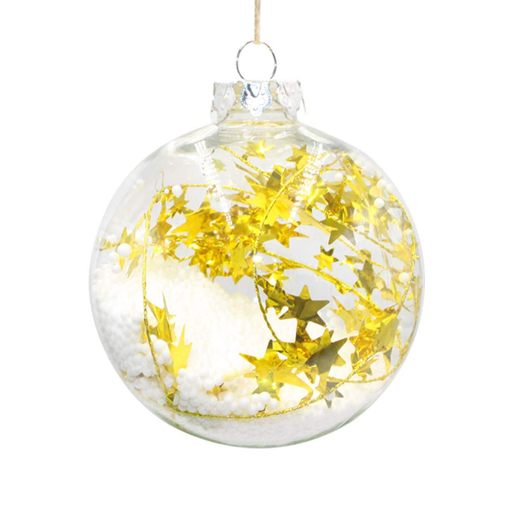 Christmas Tree Decorations, Jchen(TM) Happy Year Christmas Decor Plastic Christmas Tree Decoration Ball Pendant Hanging Home Ornament (8CM, Yellow)