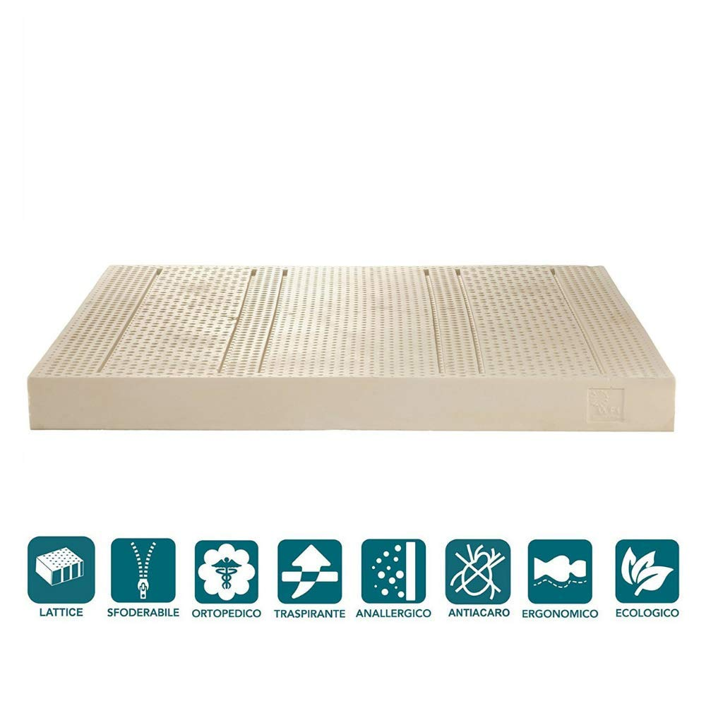 Matratze Einzelbett Und mezzo100% Latex mit Seite Sommer/Winter H16| Energy Milk 120x 195
