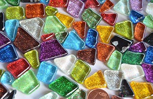 100g unregelmäßige Mosaiksteine (Soft-Glas) Glitter bunt ca. 60 St.