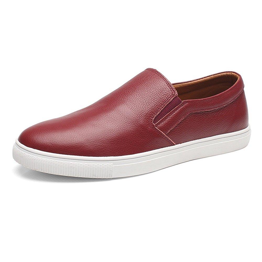 Ruiyue Zapatos de los Holgazanes de los Hombres, Cuero Genuino del Zurriago Que Camina Que Camina Slip-on holgazán Plano único para los Caballeros 43 EU|Vino