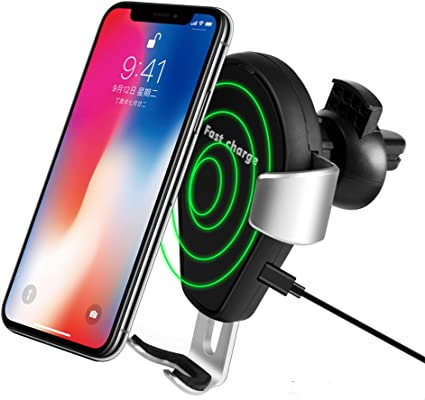 Note 8 5 and iPhone X S7//S7 Edge XINLON Fast Wireless Car Charger Air Vent Phone Holder Gravity Car Mount Fast Charging for Samsung Galaxy S8 8//8 Plus|Standard Charge for All QI-Enabled Devices
