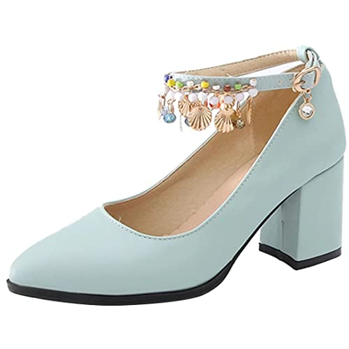 ecf2c4ad203ff5 AIYOUMEI Damen Blockabsatz High Heels Knöchelriemchen Pumps mit 7cm Absatz  und Strass Elegant High Shoes