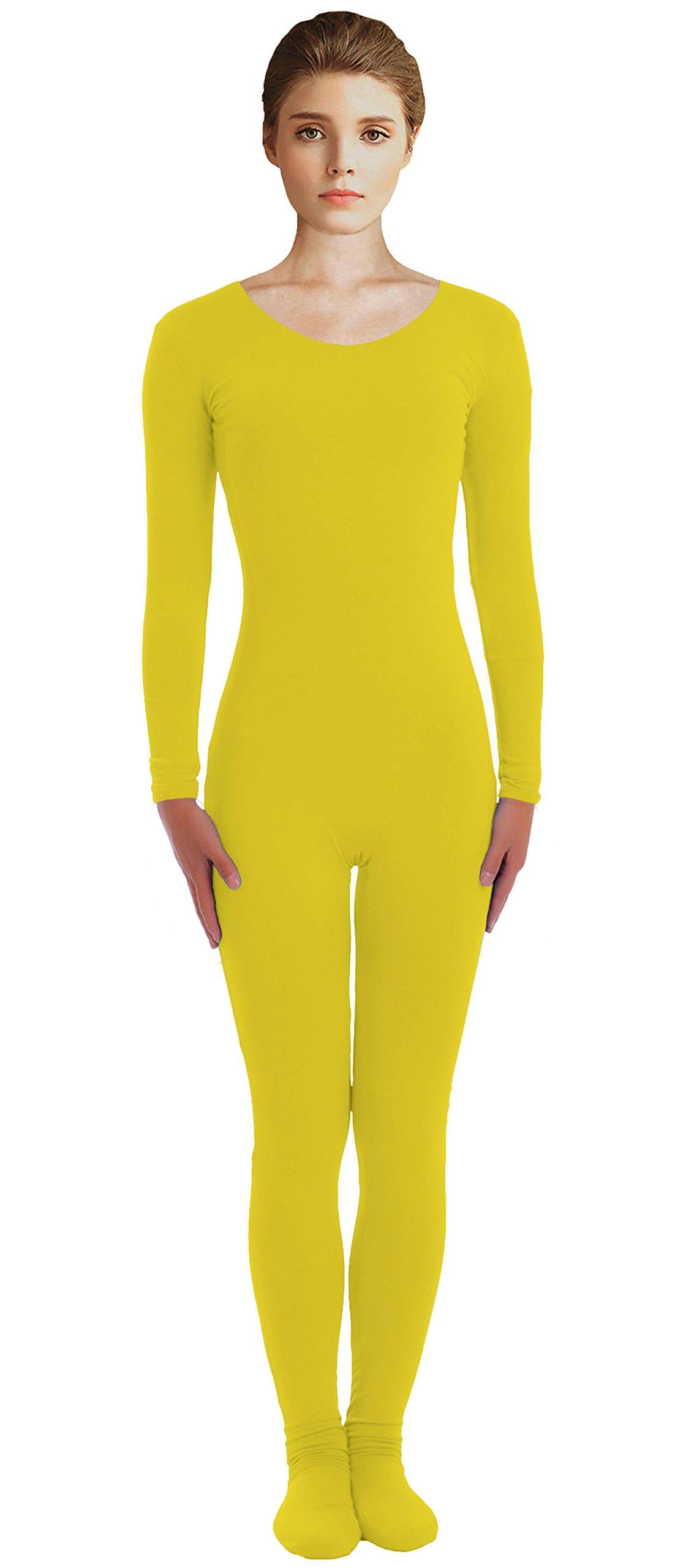 VSVO Adult Yellow Scoop Neckline Unitard with Socks Catsuit Dancewear (XX-Large, Yellow) by VSVO