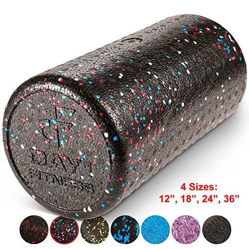 Day 1 Fitness High Density Muscle Foam Rollers by Sports Massage Rollers for Stretching, Physical Therapy, Deep Tissue and Myofascial Release - For Exercise and Pain Relief – USA Speckled, 12""