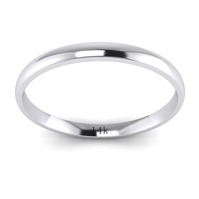 Unisex 14k White Gold 2mm Light Court Shape Comfort Fit Polished Wedding Ring Plain Band (5.5) by LANDA JEWEL (Image #2)