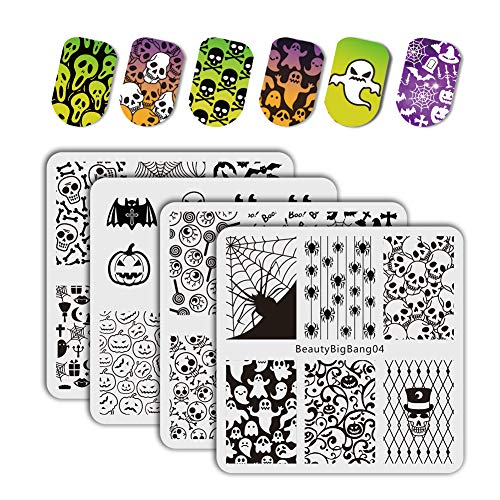 BEAUTYBIGBANG 4pcs Halloween Stamping Plates Nail Stamping Kits Happy Halloween pumpkin ghost Skull Nail Art Plates]()