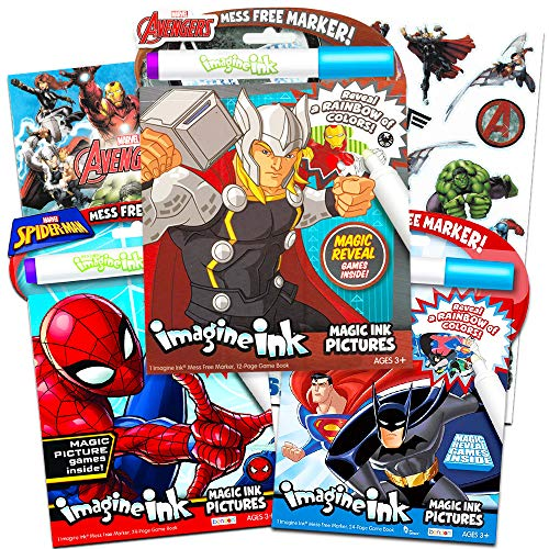 Imagine Ink Bundle of 3 Superhero Magic Pictures Activity Books Set - Justice League Batman, Spiderman and Avengers No Mess Books with Stickers Pack (Mess Free Coloring Books for Toddlers -