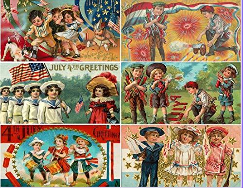 (Vintage Victorian 4th of July Kids Children Postcard Collage Sheet decoupage Scrapbooking Ephemera (Cardstock))