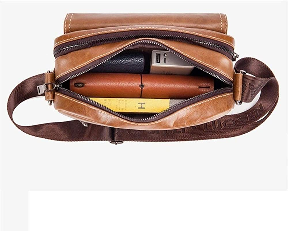 Leather Men's Crossbody Shoulder Bag Yellow-brown