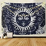 bohemian living room Psychedelic Sun and Moon Tapestry, Wall Hanging Tapestry Dark Blue White Celestial Tapestry Indian Hippy Bohemian Mandala Tapestry for Bedroom Living Room Decor