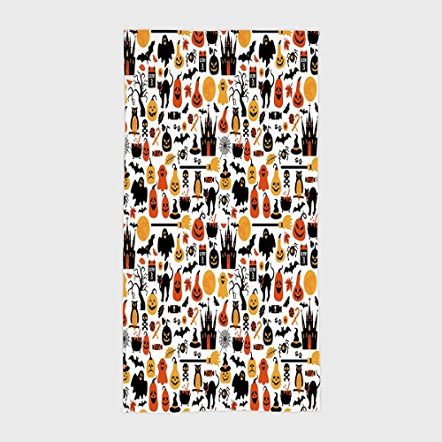(Cotton Microfiber Hotel SPA Beach Pool Bath Hand Towel,Halloween,Halloween Icons Collection Candies Owls Castles Ghosts October 31 Theme Decorative,Orange Yellow Black,for Kids, Teens, and)