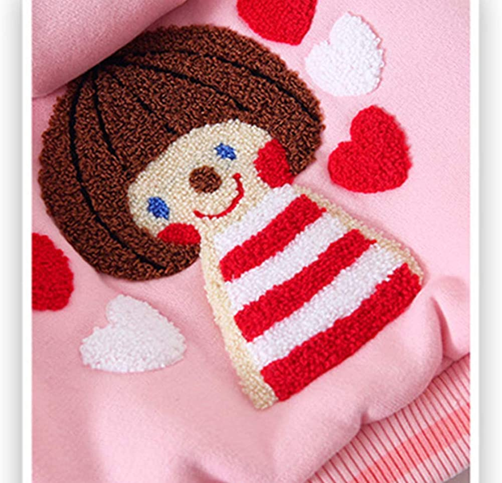 Eveliyning Newborn Girls Long Sleeve Pink Jacket Cartoon Embroidery Cute Shape Hooded Coat
