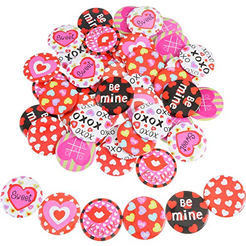 Chuangdi 48 Pieces Valentine's Day Kids Pins Round Pins Buttons Mini Pin Badge for Valentine's Day Party Favors Decorations Craft Supplies (Color Set 1) (Color Set 1) -