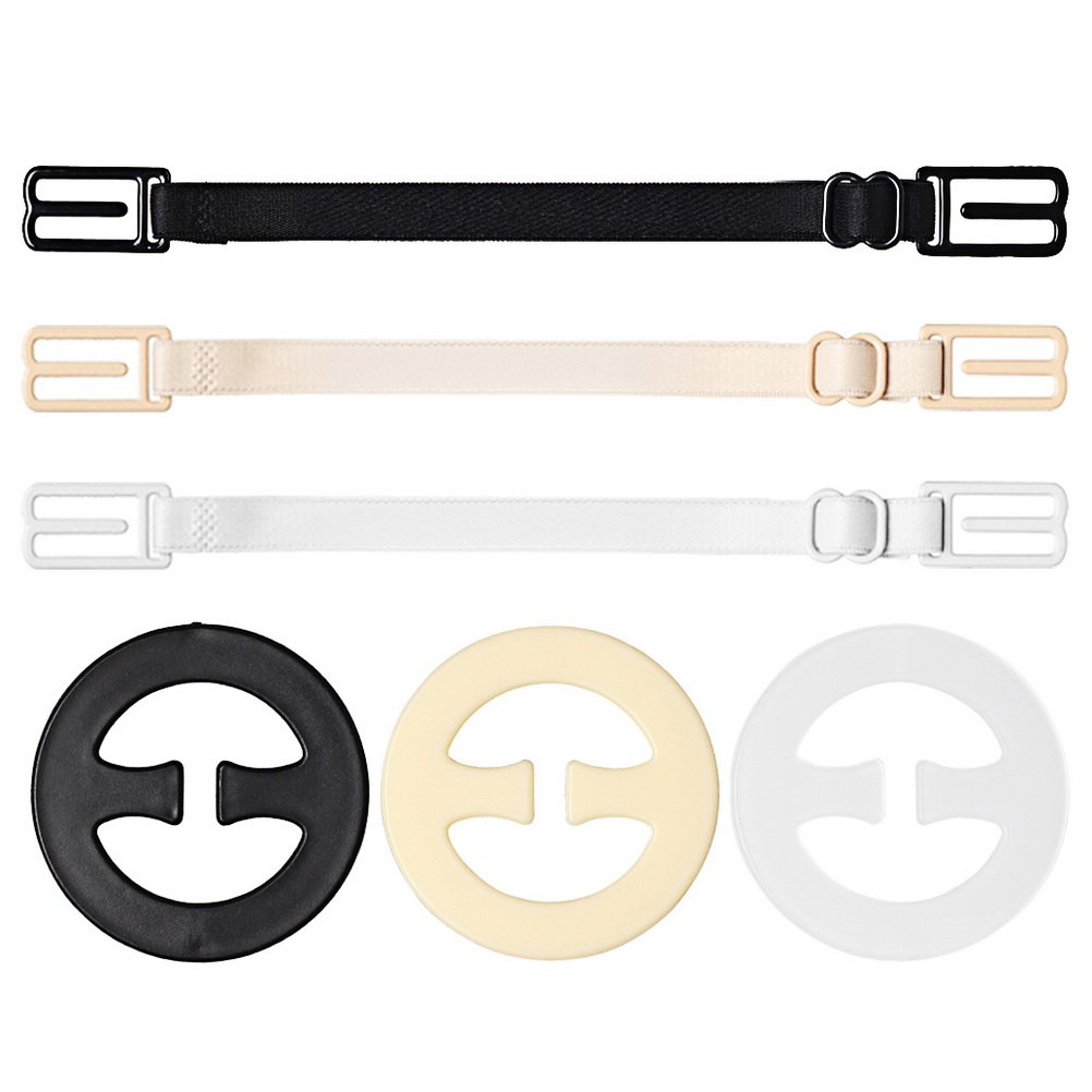 Wode Shop 6 pcs Bra Strap Clips Set, 3 pcs Bra Straps Holder and 3 pcs Bra Clips for Full Cup Size(Black, White, Beige) 4337006150